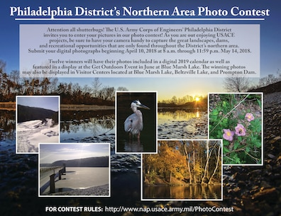 Attention all shutterbugs! The U.S. Army Corps of Engineers' Philadelphia District invites you to enter your pictures in our photo contest! As you are out enjoying USACE projects, be sure to have your camera handy to capture the great landscapes, dams, and recreational opportunities that are only found throughout the District's northern area.