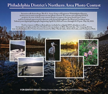 Attention all shutterbugs! The U.S. Army Corps of Engineers' Philadelphia District invites you to enter your pictures in our photo contest! As you are out enjoying USACE projects, be sure to have your camera handy to capture the great landscapes, dams, and recreational opportunities that are only found throughout the District's northern area.Visit http://www.nap.usace.army.mil/PhotoContest/ for more details.