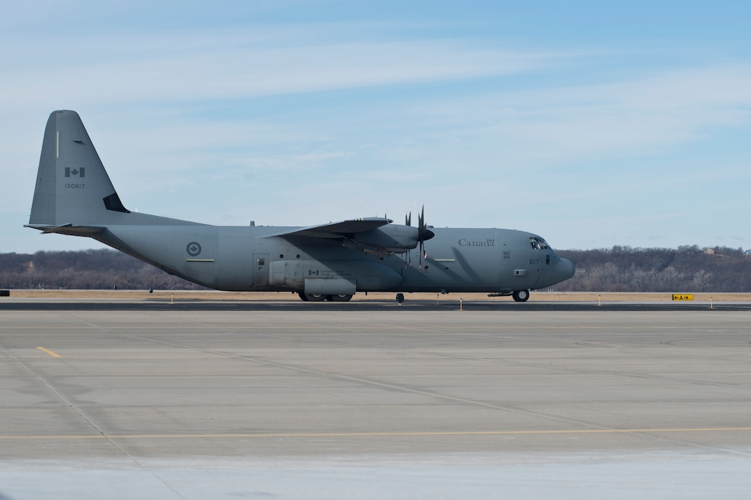 A Royal Canadian Air Force CC-130J aircraft taxies at Rosecrans Memorial Airport, St. Joesph, Mo. February 1, 2018 after a training flight for the Treaty on Open Skies. Personnel from the United States, Canada, United Kingdom, France and the Czech Republic participated in the flight designed to promote international cooperation and transparency. (U.S. Air National Guard photo/Tech. Sgt. John Hillier)