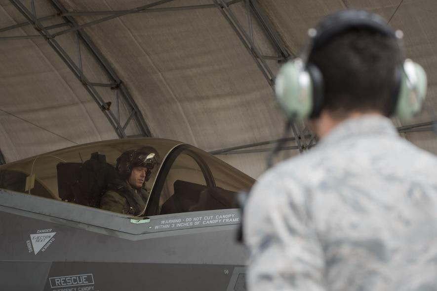 U.S Air Force Lt. Col. Bradley Turner, 86th Fighter Weapons Squadron F-35 lead evaluator, sits in an F-35A Lightning II prior to take off Jan. 29, 2018, at Eglin Air Force Base, Fla. The 33rd Fighter Wing conducted the first of its kind expanded Lightning Top Off Course designed to ensure F-35A pilots are prepared to enter the Combat Air Forces. The exercise is an opportunistic enhancement of LiTOC to shorten the training timeline while improving the quality of mission qualifications training. (U.S. Air Force photo by Staff Sgt. Peter Thompson/Released)