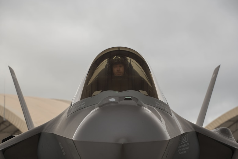 U.S Air Force Lt. Col. Bradley Turner, 86th Fighter Weapons Squadron F-35 lead evaluator, sits in an F-35A Lightning II prior to participating in an expanded Lightning Top Off Course Jan. 29, 2018, at Eglin Air Force Base, Fla. The expanded LiTOC is a first of its kind joint interagency exercise created to ensure student F-35A pilots are prepared to meet the demands of the Combat Air Forces. It shortens the timeline of getting pilots mission qualified without sacrificing quality training during a time when pilot shortages are being felt across the Air Force. (U.S. Air Force photo by Staff Sgt. Peter Thompson/Released)