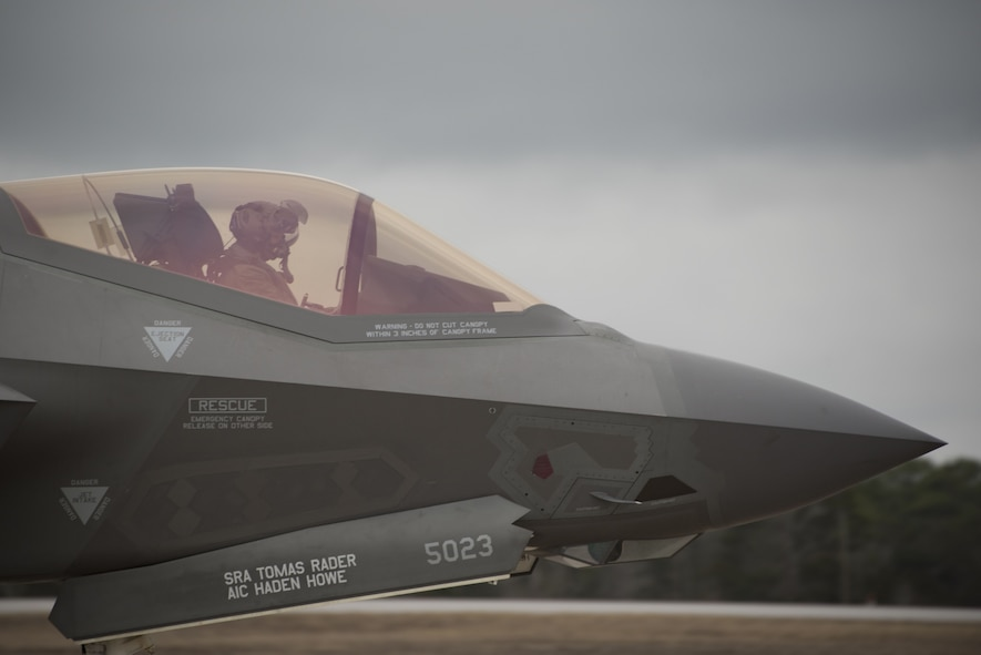 An F-35A Lightning II assigned to the 33rd Fighter Wing is taxied prior to participating in an expanded Lightning Top Off Course Jan. 29, 2018, at Eglin Air Force Base, Fla. Expanded. Expanded LiTOC provides a capstone training opportunity for F-35A pilots entering the Combat Air Force by providing pilots who participate in the exercise with experience to prepare them to enter the fight. (U.S. Air Force photo by Staff Sgt. Peter Thompson/Released)