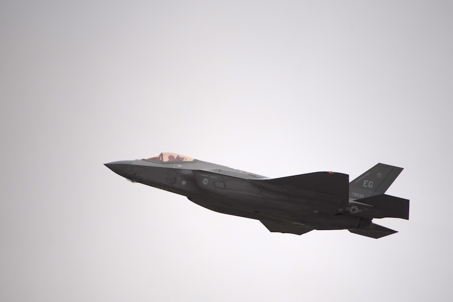 An F-35A Lightning II assigned to the takes off during the expanded Lighning Top Off Course Jan. 29, 2018, at Eglin Air Force Base, Fla. Expanded. Expanded LiTOC provides a capstone training opportunity for F-35A pilots entering the Combat Air Force by providing pilots who participate in the exercise with experience to prepare them to enter the fight. (U.S. Air Force photo by Staff Sgt. Peter Thompson/Released)
