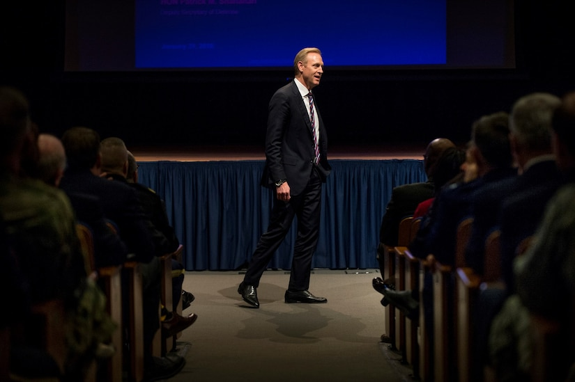 Deputy Defense Secretary Patrick M. Shanahan conducts an all-hands session with senior leaders at the Pentagon.