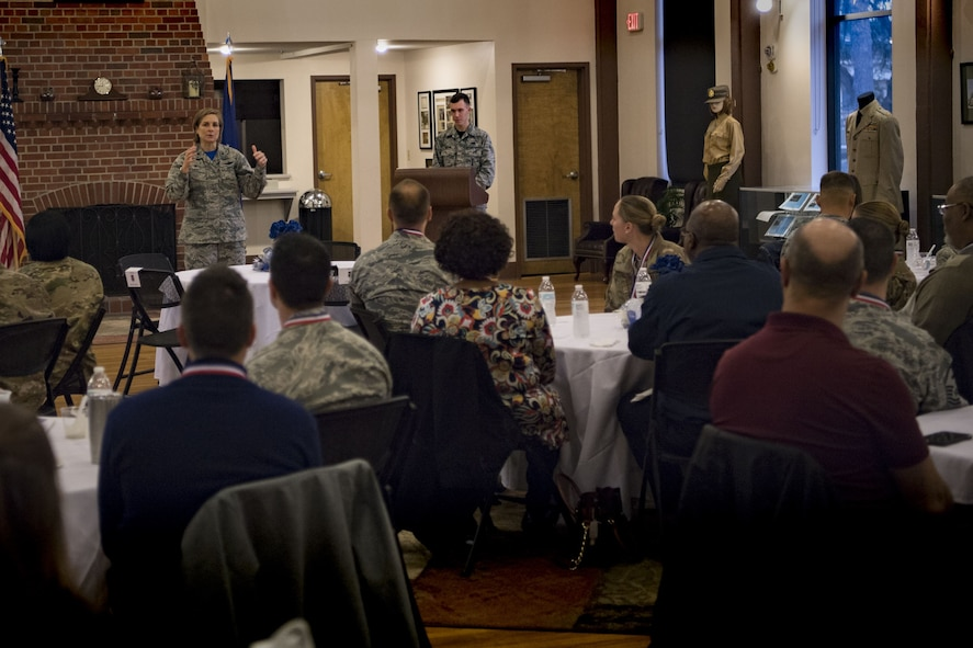 Col. Jennifer Short, 23d Wing commander, addresses a crowd of annual award nominees before a Tour of Champions, Feb. 2, 2018, at Moody Air Force Base, Ga. The Tour of Champions recognizes 23d Wing annual award nominees and an opportunity to gain a better perspective of the 23d Wing's mission. (U.S. Air Force photo by Senior Airman Daniel Snider)