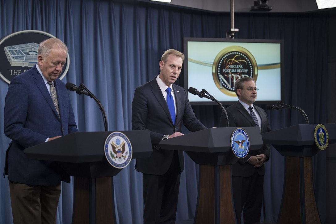 Deputy Defense Secretary Patrick M. Shanahan, center, Undersecretary of State for Political Affairs Thomas A. Shannon Jr., left, and Deputy Energy Secretary Dan Brouillette brief the press on the 2018 Nuclear Posture Review at the Pentagon.