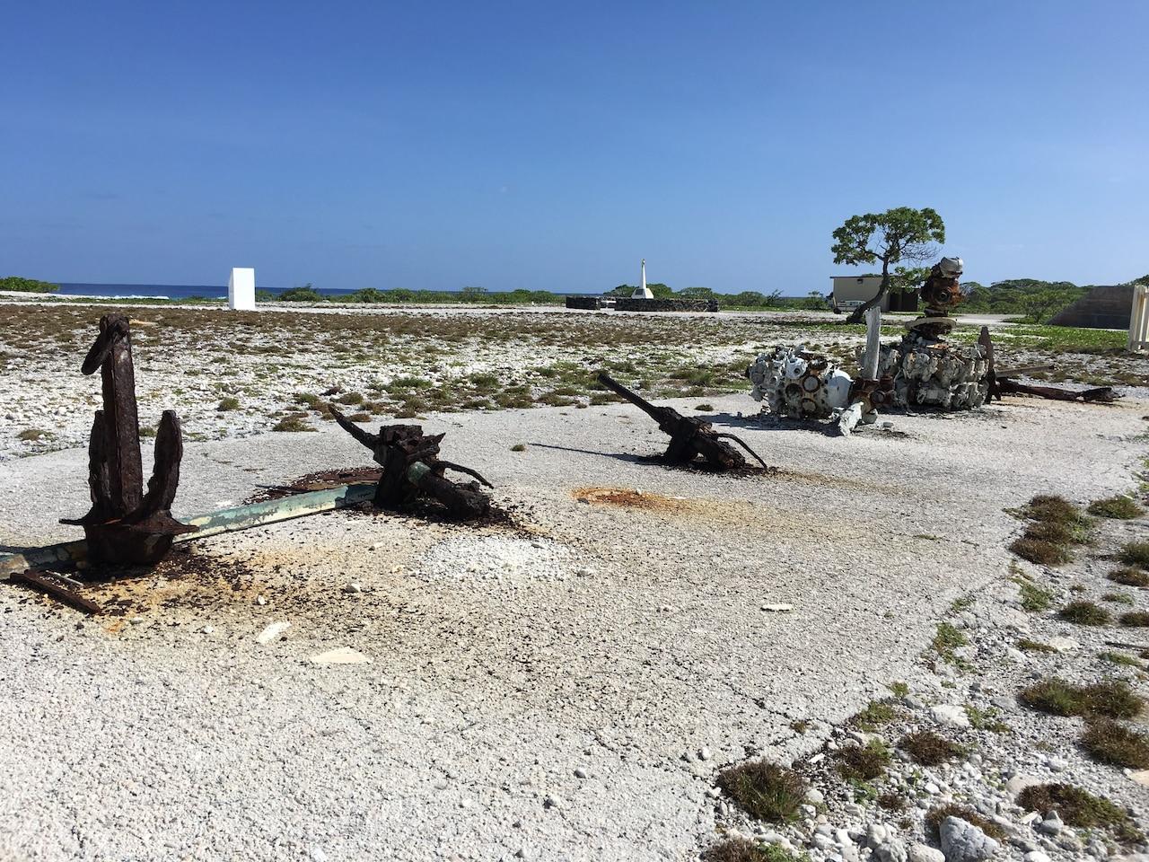WWII equipment rusts at Wake Island.