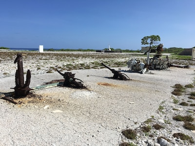 WWII equipment rusts at Wake Island.