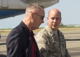 Marine Corps Gen. Joe Dunford, the chairman of the Joint Chiefs of Staff, speaks to an Air Force officer.