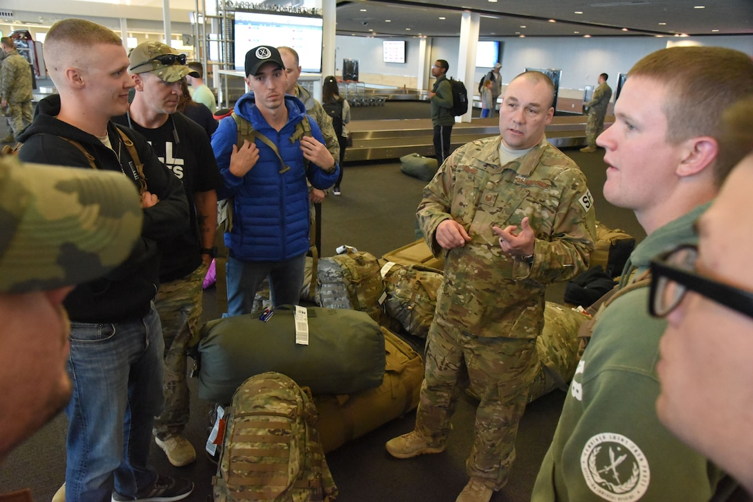 Twelve members of the 219th Security Forces Squadron returned home to the Minot International Airport, Minot, N.D., upon completion of their six-month deployment to southwest Asia Feb. 2, 2018.