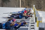 U.S. Army Capt. Lauren Weber, Ohio National Guard Biathlon Team, loads her weapon during a biathlon sprint race at Camp Ethan Allen Training Site, Jericho, Vt., Jan. 27, 2018. Athletes from 24 states participated in the National Guard Eastern, Western, and Central Regional Biathlon Competitions. (U.S. Army National Guard photo by Sgt. Avery Cunningham)