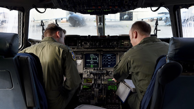 U.S. Air Force Capt. Alexander Congram, left, 14th Airlift Squadron pilot, and Royal Air Force Flight Leader Matt Jenkinson, right, 14th AS pilot apart of a foreign exchange pilot program, prepare for takeoff at Joint Base Charleston, S.C. Jan. 30, 2018.