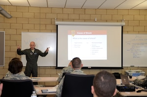 U.S. Air Force Col. Louis Perino, commander of the 116th Medical Group (MDG), Georgia Air National Guard, teaches a class explaining the importance of shock assessment during a Advanced Trauma Life Support course at Nellis Air Force Base, Nev., Jan. 30, 2018.