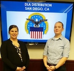 DLA Distribution San Diego, California, in conjunction with the Department of Defense's Operation Warfighter internship program, recently hosted Navy Petty Officers Heather Fournier and Christine Broadhurst.