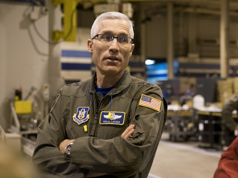 Maj. Gen. Craig La Fave, 22nd Air Force commander, speaks with members of the 402nd Commodities Maintenance Group Feb. 2, 2018, at Robins Air Force Base, Georgia. The 402nd CMXG provides depot maintenance support to F-15, C-5 and C-130 aircraft flown and tested by the 413th Flight Test Group and 339th Flight Test Squadron. (U.S. Air Force photo by Jamal D. Sutter)