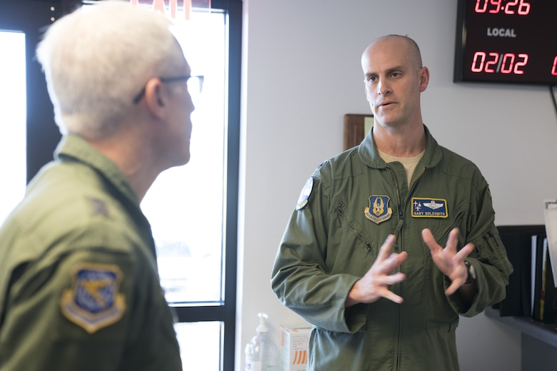 Lt. Col. Gary Goldsmith, right, 339th Flight Test Squadron operations officer, details unit practices and procedures to Maj. Gen. Craig La Fave, 22nd Air Force commander, Feb. 2, 2018, at Robins Air Force Base, Georgia. La Fave toured the 339th FLTS facility and met various Citizen Airmen to get a better understanding of what they bring to the mission. (U.S. Air Force photo by Jamal D. Sutter)