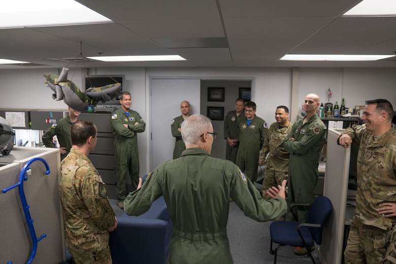 Maj. Gen. Craig La Fave, 22nd Air Force commander, speaks with members of the 339th Flight Test Squadron Feb. 2, 2018, at Robins Air Force Base, Georgia. This was La Fave's first visit to the unit since taking his new position in November of 2017. (U.S. Air Force photo by Jamal D. Sutter)