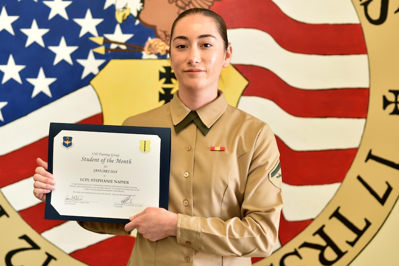 316th Training Squadron Student of the Month for Jan. 2018 U.S. Marine Corps Lance Cpl. Stephanie Napier, Marine Corps Detachment at Goodfellow trainee, stands in the Brandenburg Hall on Goodfellow Air Force Base, Texas, Jan. 2, 2018. Napier is the Goodfellow Student of the Month spotlight for Jan. 2018, a series highlighting Goodfellow students.