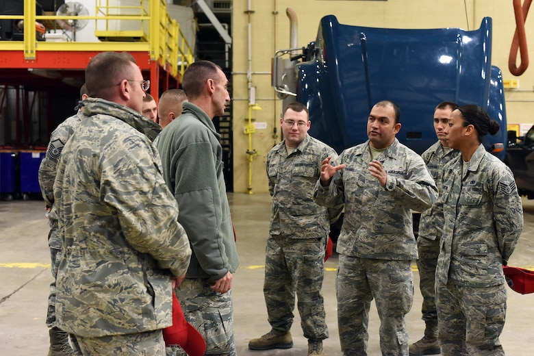 U.S. Air Force Tech. Sgt. Williams Rangel and members of the 819th Rapid Engineer Deployable Heavy Operational Repair Squadron Engineers (RED HORSE) readiness section brief Maj. Gen. Scott J. Zobrist, 9th Air Force commander, and Chief Master Sgt. David W. Wade, 9th AF command chief, at Malmstrom Air Force Base, Mont., Jan. 25, 2018. The readiness section is preparing approximately 180 RED HORSE Airmen for deployment this spring. During their visit, 9th AF leadership met with 819th RHS, base leaders and Airmen for a mission update and to thank them for their support to 9th AF and worldwide contributions, including upcoming deployments to U.S. Africa Command and U.S. Central Command.