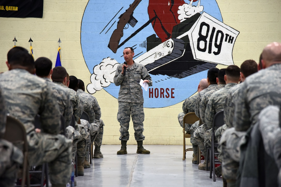 U.S. Air Force Maj. Gen. Scott J. Zobrist, 9th Air Force commander, addresses Airmen from the 819th Rapid Engineer Deployable Heavy Operational Repair Squadron Engineers (RED HORSE) during a commander's call at Malmstrom Air Force Base, Mont., Jan. 25, 2018. During their visit, 9th AF leadership met with 819th RED HORSE, base leaders and Airmen to thank them for their support and discuss the unit's upcoming deployments to U.S. Africa Command and U.S. Central Command. (U.S. Air Force photo by Kiersten McCutchan)