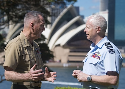 Marine Corps Gen. Joe Dunford, chairman of the Joint Chiefs of Staff, speaks with Air Chief Marshal Mark D. Binskin, chief of the Australian Defense Force upon their arrival at the Admirality House in Sydney, Australia, Feb. 5, 2018.