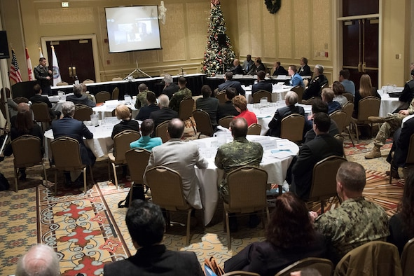Lieutenant-General Pierre St-Amand, Deputy Commander, North American Aerospace Defense Command (NORAD), addresses the NORAD and USNORTHCOM Academic Symposium attendees in Colorado Springs, Colorado. (Photo credit: TSgt Joe Laws, USAF, NORAD and USNORTHCOM PA)