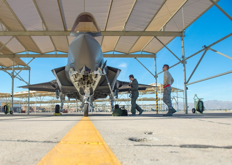 An F-35A Lightning II is inspected before for take-off at Luke Air Force Base, Ariz., Feb. 1, 2018. This year was the first time the F-35 participated in the Haboob Havoc, a fighter pilot competition, hosted by Thunderbolts. (U.S. Air Force photo/Airman 1st Class Caleb Worpel)