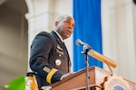 Defense Logistics Agency Director Army Lt. Gen. Darrell K. Williams delivers the keynote address at the Hampton University Founder's Day Ceremony Jan. 28.