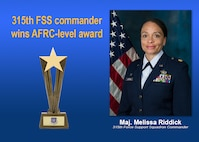 Maj. Melissa Riddick, 315th Force Support Squadron commander, won the Air Force Reserve Command 2017 Lt. Gen. Lezy Award. (U.S. Air Force graphic)