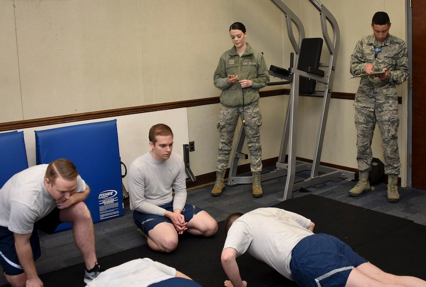 ABLE Flight Airmen conduct an official Air Force physical training test, Jan. 29, 2018 at Fort George G. Meade, Md. ABLE Flight utilizes Airmen, who are waiting on their security clearances, to support prioritized Wing level jobs such as the Chaplain's office, Military Personnel Flight, Fitness Center, Inspector General's office, Dental Clinic, the Meade Attic, Transportation, Legal Office, Mailroom and many more. (U.S. Air Force photo/Staff Sgt. AJ Hyatt)