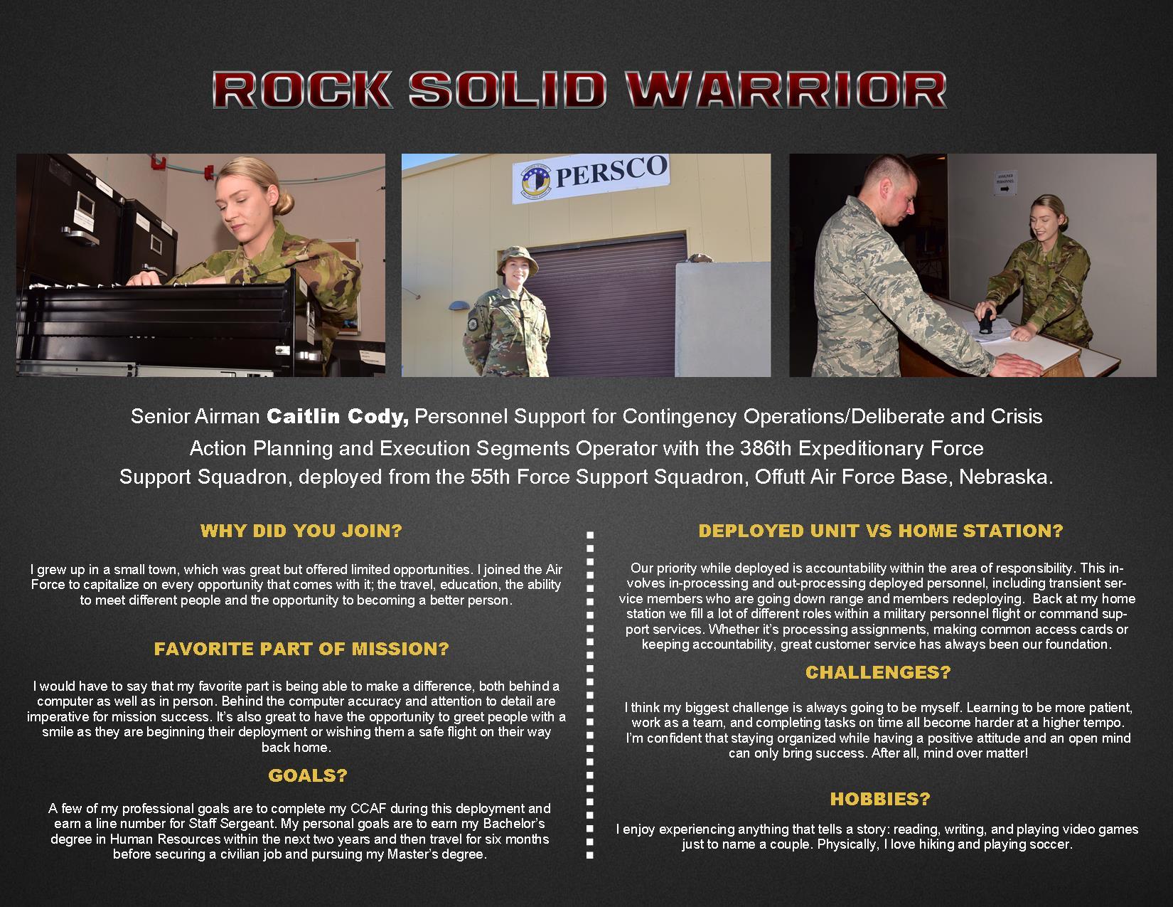 Rock Solid Warrior Senior Airman Caitlin Cody Us Air Forces