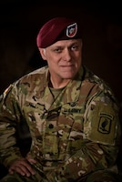 Army Lt. Col. John Hall, a paratrooper and public affairs officer assigned to Headquarters and Headquarters Company, 173rd Airborne Brigade, poses for a photo in Vicenza, Italy, Jan. 31 2018. Hall is a Michigan National Guard soldier currently on active-duty orders with the 173rd. Army photo by Staff Sgt. Alexander C Henninger