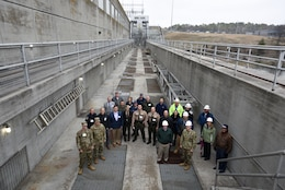 Participants of First Responders Day pose for a group photo at the Old Hickory Dam Hydropower Plant during a tour of the project on the Cumberland River in Hendersonville, Tenn., Feb. 1, 2018. (USACE photo by Lee Roberts)