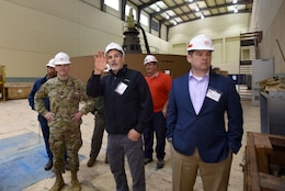 Joe Conatser (Holding Hand Up), U.S. Army Corps of Engineers Nashville District power plant manager at Old Hickory Dam, answers questions from a group of first responders in the hydropower plant during First Responders Day at the project on the Cumberland River in Old Hickory, Tenn., Feb. 1, 2018. Lt. Col. Cullen Jones (In uniform) and Patrick Sheehan (Blue Blazer), Tennessee Emergency Management Agency director, participated in this tour. (USACE photo by Lee Roberts)