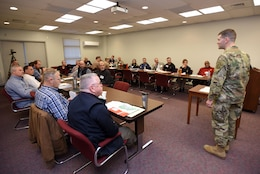 Lt. Col. Cullen Jones (Right), U.S. Army Corps of Engineers Nashville District commander, thanks federal, state and local first responders for participating in First Responders Day at Old Hickory Dam in Old Hickory, Tenn., Feb. 1, 2018. (USACE photo by Lee Roberts)