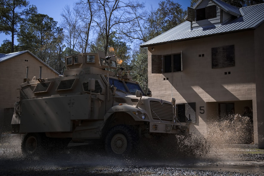 Airmen assigned to the 820th Base Defense Group drive a mine-resistant, ambush-protected vehicle during a capabilities demonstration, Feb. 5, 2018, at Moody Air Force Base, Ga. The immersion was designed to give the 23d Wing's leadership a better understanding of the 820th BDG's mission, capabilities and training needs. (U.S. Air Force photo by Senior Airman Daniel Snider)