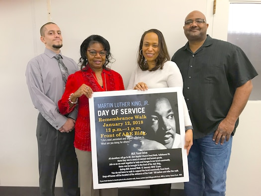 Members of the Arnold Air Force Base African-American Heritage Committee recently sponsored a Martin Luther King Jr. Remembrance Walk and food drive where they were able to donate more than 200 items to the Mt. Zion Baptist Church Food Locker in Tullahoma. Pictured are committee member officers Reginald Floyd, vice president; Jackey Vance, treasurer; April Killingsworth, secretary; and Lee Smith, president. (Courtesy photo)