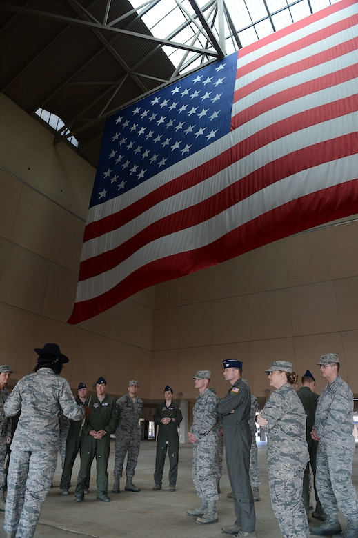Members of the 62nd Airlift Wing command staff tour an Airman Training Complex January 11, 2018, at Joint Base San Antonio, Texas.