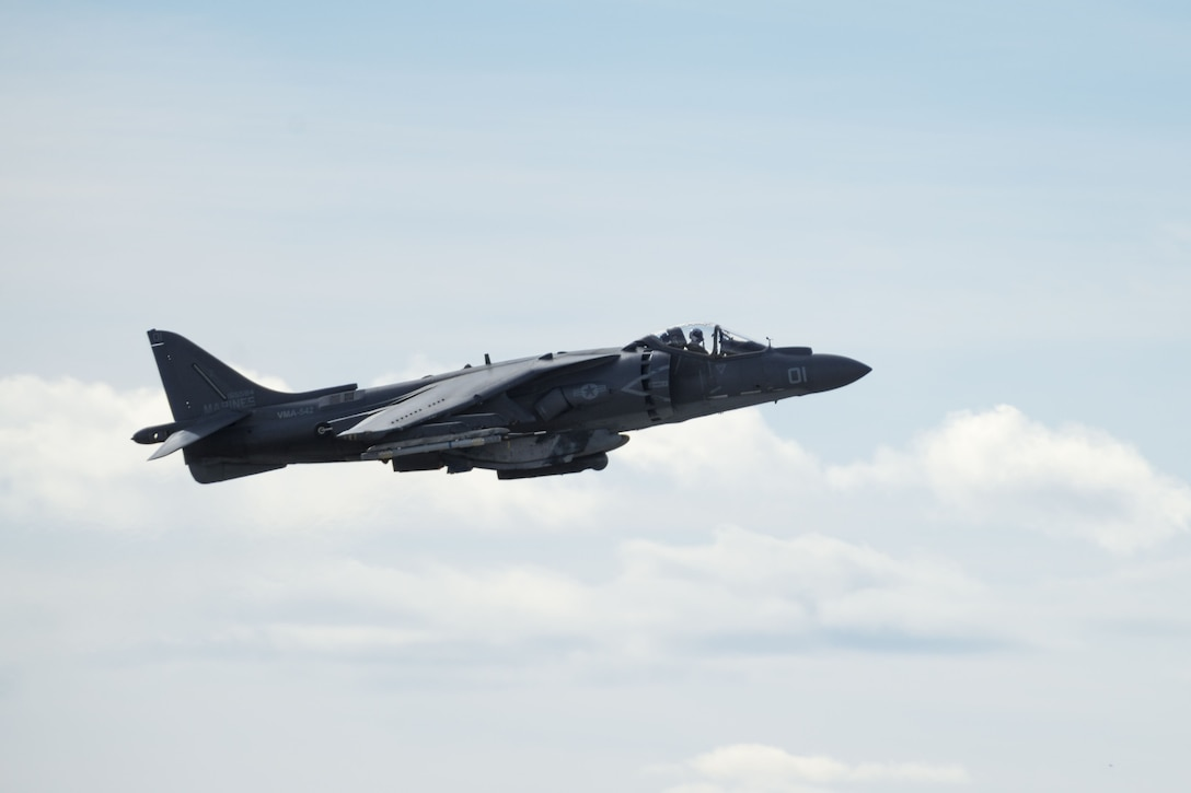 An AV-8B Harrier II takes off Jan. 31, 2018, at Mountain Home Air Force Base, Idaho. The VMA-542 trained with the 366th Fighter Wing to experience mission operations under cold weather. (U.S. Air Force Photo by Airman 1st Class JaNae Capuno)