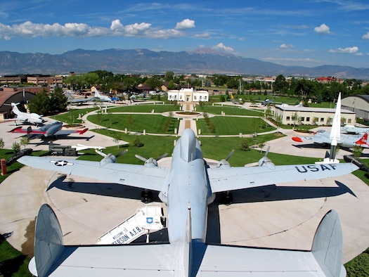 PETERSON AIR FORCE BASE, Colo. – An aerial view of the Peterson Air and Space Museum. From its origin as the first passenger terminal and hangar for the original Colorado Springs airport more than seven decades ago, the Peterson Air and Space Museum has become a repository for the Air Force and the city's heritage. (U.S. Air Force photo)