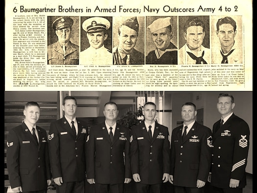 A news clipping from 1945 shows Roy Baumgartner and his five brothers in uniform during World War II, a nostalgic comparison to Roy's six grandsons shown beneath the clipping at Roy's funeral in June, 2017.