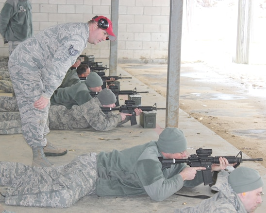 Tech. Sgt. Brad Vermeesch serves as a safety monitor while observing marksmanship training at Selfridge Air National Guard Base, Mich., Feb. 4, 2018. The Citizen-Airmen of the 127th Wing spent the February regularly scheduled drill focused on expeditionary skills training.