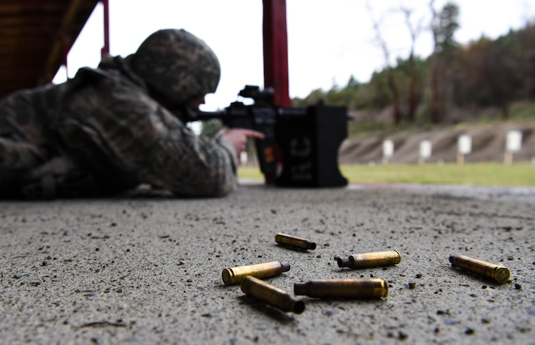 Shell casings from an M-4 carbine lay on the ground during the 627th Security Forces Squadron's Combat Arms Training and Maintenance class at Joint Base Lewis-McChord, Wash., Jan. 31, 2018.