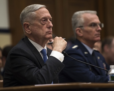 Defense Secretary James N. Mattis and Vice Chairman of the Joint Chiefs of Staff Air Force Gen. Paul J. Selva testify on the National Defense Strategy and the Nuclear Posture Review before the House Armed Services Committee in Washington.