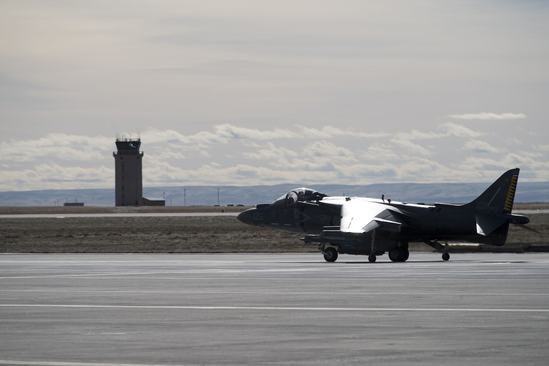 An AV-8B Harrier II taxies out to the runway Jan. 31, 2018, at Mountain Home Air Force Base, Idaho. The Marine Attack Squadron 542 worked alongside joint terminal attack controllers, F-15E Strike Eagles and A-10 Thunderbolt IIs. (U.S. Air Force Photo by Airman 1st Class JaNae Capuno)