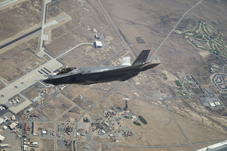 An F-35A Lightning II from the 461st Flight Test Squadron soars over Edwards Air Force Base Sept. 15, 2017. The F-35 Integrated Test Force at Edwards is one of nine nominees for the National Aeronautic Association's Collier's Trophy. (Courtesy photo by Chad Bellay/Lockheed Martin)