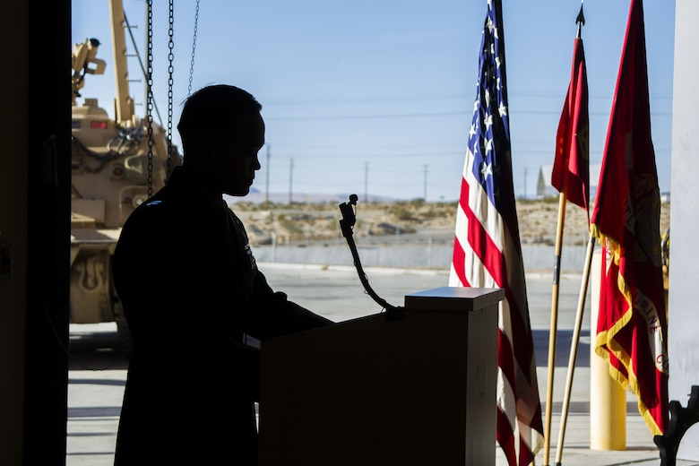 Captain Christopher Silva, inspector instructor, Delta Company, 4th Tank Battalion, speaks at a memorial held for Staff Sgt. Enrico Antonio Rojo aboard the Marine Air Ground Combat Center, Twentynine Palms, Calif., Jan. 21, 2018. Staff Sgt. Rojo was awarded a Navy and Marine Corps Medal for attempting to help the victim of a car accident on December 16, 2016. (U.S. Marine Corps photo by Pfc. Rachel K. Porter)