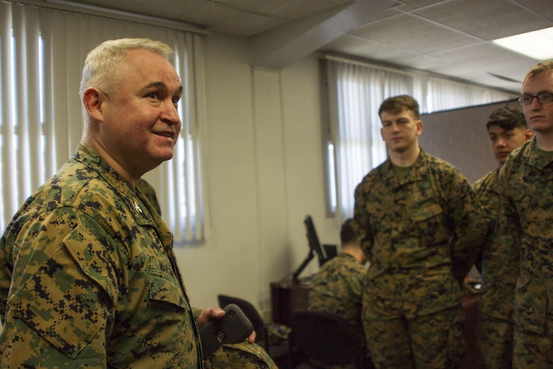 Col. Ricardo Martinez, chief of staff, Marine Air Ground Task Force Training Command, Marine Corps Air Ground Combat Center, speaks to Marines with the Fleet Assistance Program at the opening of the Tax Center aboard MCAGCC, Jan. 29, 2018. The Tax Center offers free assistance to Marines during Tax season. (U.S. Marine Corps photo by Pfc. Rachel K. Porter)