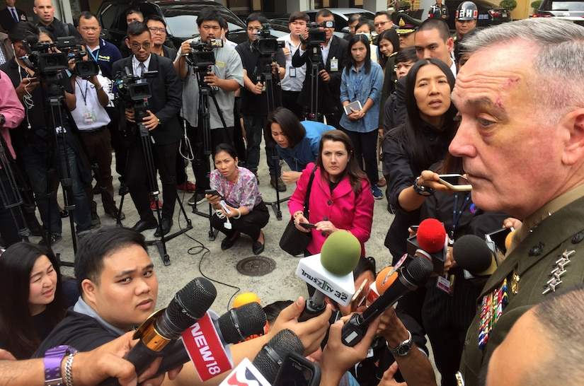 Marine Corps Gen. Joe Dunford, the chairman of the Joint Chiefs of Staff, speaks with Thai and U.S. reporters.