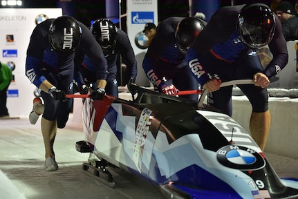 U.S. bobsled racers, including Maj. Chris Fogt and Sgt. Justin Olsen, compete in the World Cup at Park City, Utah, November 2017.